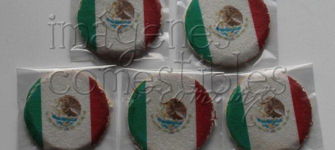 Obleas de cajeta con imagen comestible de la bandera mexicana